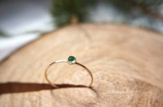 Tiny Emerald cabochon / Hammered ring / Stacking by EileenAndSam