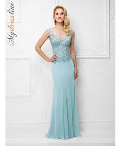 Mon Cheri Montage 117919 chiffon slim a-line gown with lace slight cap sleeves, front and back v-necklines, hand-beaded lace bodice, scalloped slight dropped waistline, sweep train. matching shawl included.