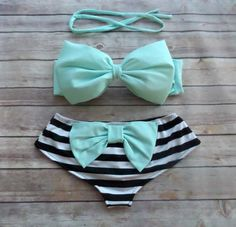❤ Bikiniboo Handmade Bow Bikini ❤    ❤ In Stunning Minty Blue, White & Black ❤    This bikini is everything that swimwear should be... cute, fun &