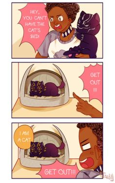 Shuri, T'Challa, and Erik by drenched in sunlight on tumblr, black panther, marvel, mcu
