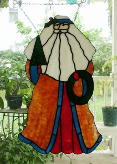 Large Old World Santa Claus Stained Glass Panel by missourijewel, $140.00