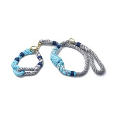Beautiful rope collar and leash for dogs. Set in Seal Gray & Goddess Aqua.