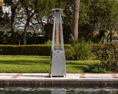 The patented Stainless Steel Pyramid Flame Heater brings a new dimension to outdoor heating. This stylish unit provides a uniquely visual flame while providing heat in every direction, and will be the focal point of any outdoor setting. Outdoor Heaters Patio, Gas Patio Heater, Plastic Patio Furniture, Garden Furniture, Garden Yard Ideas, Patio Ideas, Backyard Ideas, Backyard Bar, Backyard Makeover