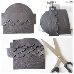 Leather scalloped pouch. I'm envisioning this idea with felt!