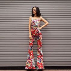 Women's Bohemian red print  70s vintage Top& high waist bell bottoms pant All size by Endorphyn on Etsy https://www.etsy.com/listing/463855487/womens-bohemian-red-print-70s-vintage