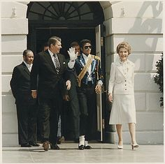 President and Mrs. Reagan with Michael Jackson at the White House Ceremony to launch the Campaign against Drunk Driving. May 14, 1984.
