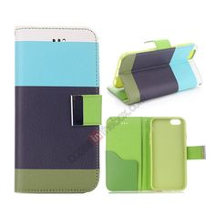 Colorful Stripes Pattern Stand Leather Case For iPhone 6 Plus 5.5 Inch With Card Slots - Blue Black Green US$9.99