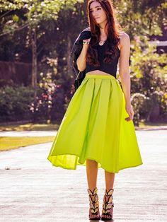 Bright Green Midi Skater Skirt