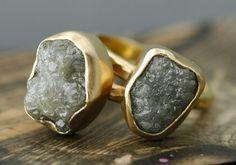 Love these! Huge Rough Diamond Engagement Ring in 18k Gold- Custom Made- SizeG Diamonds. $2,450.00, via Etsy.