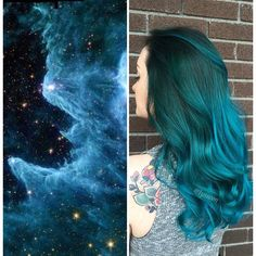 This Galaxy Hair Trend Is Out-Of-This-World ❤ liked on Polyvore featuring hair, hairstyle, jewelry, people and backgrounds