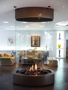 Custom Fireplace, Modern Fireplace, Fireplace Design, Suspended Fireplace, Hanging Fireplace, Design Your Home, Home Interior Design, House Design, Luxury Rooms