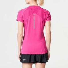 dfb206062 Camiseta Manga Corta Running Kalenji Mujer Rosa Fluorescente Transpirable