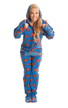 SUPERMAN - Warner Bros. - Pajamas Footie PJs Onesies One Piece Adult Pajamas - JumpinJammerz.com