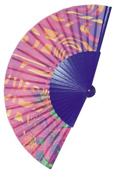 PURPLE TRANCE | 70s style psychedelic purple design with deep purple wood ribs and cotton fabric | a designer hand fan with a hippie feel