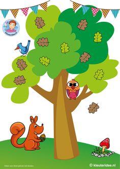 Herfst. Eikelspel voor kleuters, kleuteridee, free printable