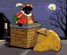 Zwarte Piet door de schoorsteen, Black Pete is black because he's covered in soot... Not because if his race.