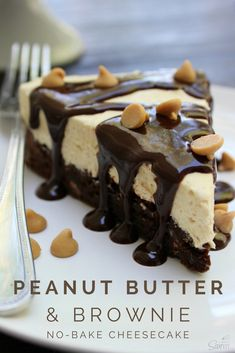Peanut Butter & Brownie No-Bake Cheesecake