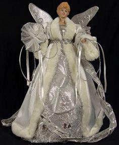 """16"""" Silver Splendor White Faux Fur Glitter Porcelain Angel Christmas Tree Topper by Sterling, http://www.amazon.com/dp/B0099TMOHK/ref=cm_sw_r_pi_dp_52K1rb0TTP561"""
