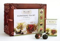 Numi Organic Tea Flowering Gift Set In Handcrafted Mahogany Bamboo Chest Glass Teapot 6 Flowering Tea Blossoms By Numi New 4264 2719 3 Used New From The Most Wished For In Gourmet Gifts List For Authoritative Informa Tea Gift Sets, Tea Gifts, Tea Set, Gourmet Gifts, Food Gifts, Valentine Gifts, Holiday Gifts, Christmas Gifts, Christmas Store