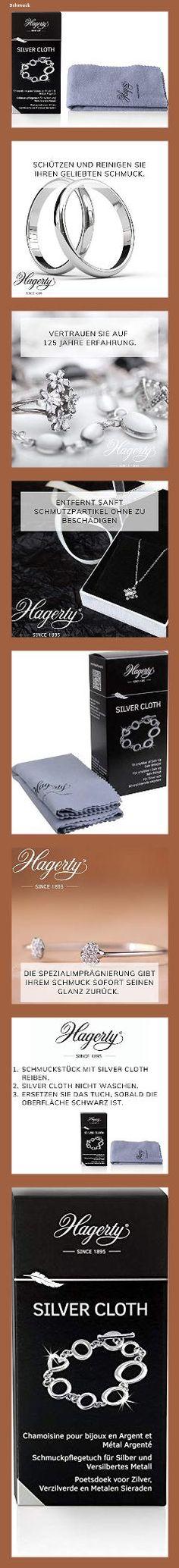 Hagerty Silver Cloth Schmuck Reinigungstuch 36x30cm I imprägniertes Tuch aus Baumwolle I effektives Silberputztuch mit Anlaufschutz zur Reinigung von Silberschmuck und Versilbertem - 14fm