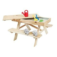 kids picnic table with sand box inside
