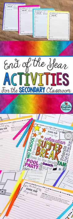 End of the year activities for the secondary classroom. These end of the year activities are ideal for the ELA classroom, but work in all subjects as well. Perfect for the last day of school or for the last week of school, these activities will help students reflect about their year of learning.