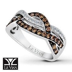 LeVian Chocolate Diamonds 1/2 ct tw Ring 14K Vanilla Gold (If only it were blue diamonds instead of the chocolate)