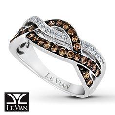 Chocolate Diamonds® Ring 1/2 ct tw Round-cut 14K Vanilla Gold™