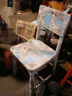Mod Podge a map onto the kids' vintage school desk!
