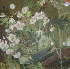 """"""" woodanemone"""" 25x25 acrylik on canvas by Lena Hautoniemi"""