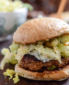 Turkey Burgers with Creamy Gorgonzola and Chili Garlic Slaw I howsweeteats.com