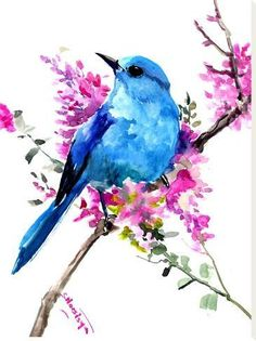 Your place to buy and sell all things handmade Floral Bird artwork Mountain Bluebird, blue pink green bird artwork, original watercolor painting, one of a kind birds of USA by ORIGINALONLY on Etsy Spring Drawing, Spring Painting, Spring Art, Spring Garden, Watercolor Bird, Watercolor Animals, Tattoo Watercolor, Watercolor Landscape, Watercolor Artists
