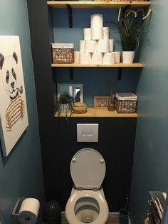 Small Toilet Decor, Small Downstairs Toilet, Toilet Room Decor, Small Toilet Room, Diy Bathroom Decor, Bathroom Design Small, Bathroom Interior Design, Small Bathrooms, Bathroom Storage