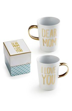 Such a sweet Mother's Day gift! Mom will love these sentimental ceramic mugs with gold letters. Great present for the mom who loves her morning coffee or breakfast in bed!