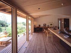 リビング-キッチン(東御の家) - キッチン事例|SUVACO(スバコ) Wood Cafe, Bamboo House, Japanese House, House Goals, Ceiling Design, House In The Woods, Villa, Interior Architecture, Living Room Designs