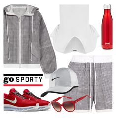 """Go Sporty!"" by brendariley-1 ❤ liked on Polyvore featuring Sacai, WearAll, NIKE, S'well and Barton Perreira"