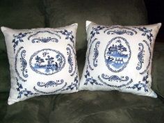 I just made a similar white pillow for a coworker who likes blue and white. I used only the center blue willow design shown here.  Someone did some wonderful work here! This is a re-post from http://www.emblibrary.com projects page. I buy most of my designs here.