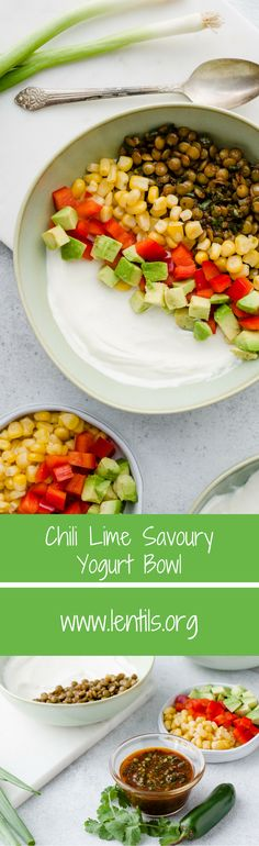 """For a backyard bash, either pre-assemble bowls or set up a savoury yogurt """"bar"""" where your guests can add the lentil mix and an array of vegetable toppings. The bowls can also be layered parfait style in tall clear glasses."""