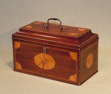 A late 18th century 3-section mahogany Tea Caddy