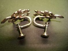 Vintage Silver Tone Screw Back Leaf Earrings