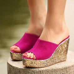 MCCKLE Women Fashion Sandals Woman Slippers Womens Platform Wedge Heel Shoes Summer Peep Toe Glitter New Black Comfortable