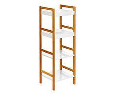 Étagère à 4 étages bois et polyuréthane, blanc - 36*110