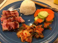 [homemade] Seared ahi tuna with rice cucumber salad and kimchi