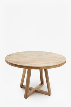 Round wood table Reclaimed mango wood Height: Width: Depth: Please note: due to the nature of the wood, variances in colour may occur. Colour of item received may vary from image. Round Wooden Dining Table, Dinning Table, Wooden Tables, Circular Dining Table, Wooden Dining Table Designs, Round Tables, Dining Room, Couch Table, Table And Chair Sets