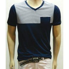Camiseta Basics Listras - Gola V - Chassi & Co.