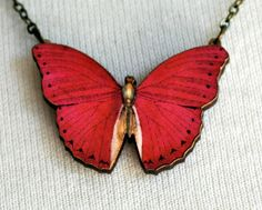 Handmade wooden laser cut butterfly necklace at Vintette