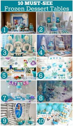 Check out these 10 gorgeous Frozen dessert tables on our blog!  See more party ideas at CatchMyParty.com!