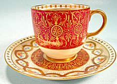 Perfect for the Limoges collector! Intricate Limoges Dark Red Demi Cup and Saucer  http://www.tias.com/cgi-bin/item.fcgi?itemKey=3924154147