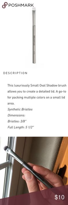 """Morphe G15 Small Oval Shadow Brush NEW — no sleeve. Perfect for packing on lid shades. This is from the gunmetal collection. Gorgeous chrome finish! Decluttering my stash. Filter closet to """"makeup> brushes & tools"""" for more!  Synthetic bristles and cruelty free. 🐰 Morphe Brushes Makeup Brushes & Tools"""
