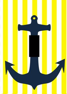 boat anchor blue and yellow nautical light LIGHT SWITCH PLATE COVER home decor  #ElsaBell